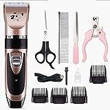 Clippers de aseo de mascotas MGWA Pet Hair Trimmer eléctrico Perros Piel Clipper Set, inalámbrico recargable y estética Juego de bajo ruido USB, kit de corte de pelo, altamente portátil, Piel de prote
