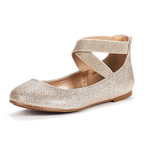 DREAM PAIRS Women's Sole_Stretchy Gold Glitter Fashion Elastic Ankle Straps Flats Shoes Size 5.5 M US