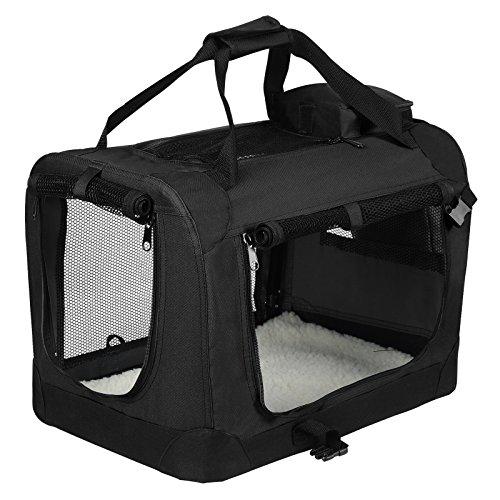 EUGAD 0115HT Hundebox faltbar Hundetransportbox Auto Transportbox Reisebox Katzenbox Schwarz 60 x 42 x 42 cm
