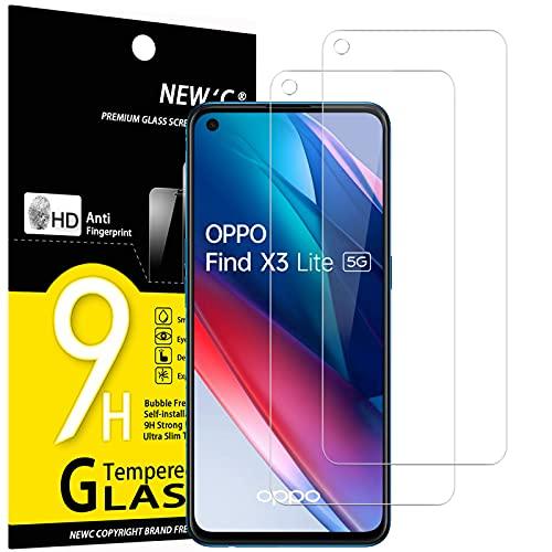 NEW'C 2 Stück, Panzerglas für Oppo Find X3 Lite Schutzfolie, Frei von Kratzern, 9H Festigkeit, HD Bildschirmschutzfolie, 0.33mm Ultra-klar, Ultrawiderstandsfähig