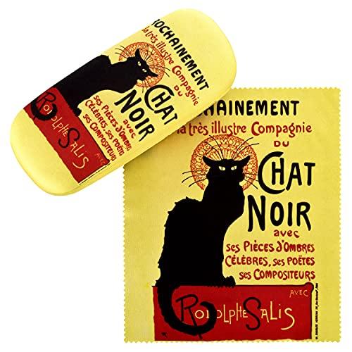 VON LILIENFELD Brillenetui Chat Noir Katze Kunst Motiv Etui Brille Mikrofaser Brillenputztuch Brillenbox Stabiles Hardcase Set mit Stoff bezogen
