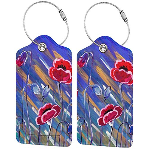 Floral Pattern of Poppy Flowers Personalized Leather Luxury Suitcase Tag Set Travel Accessories Luggage Tags