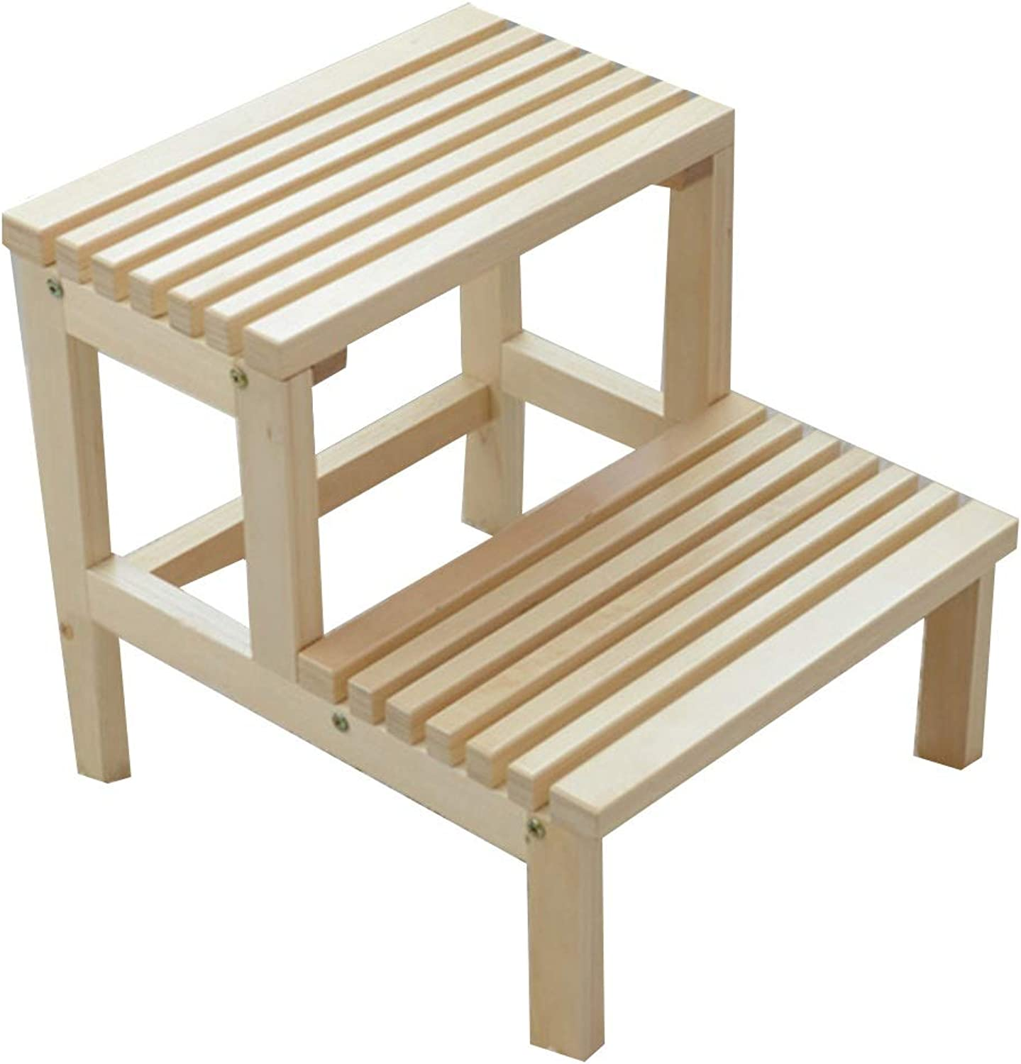 Qing MEI Solid Wood Step Stool Double Stool Stair Stool Step Stool Practical Stool 2 Steps Wood color 40X44X41cm