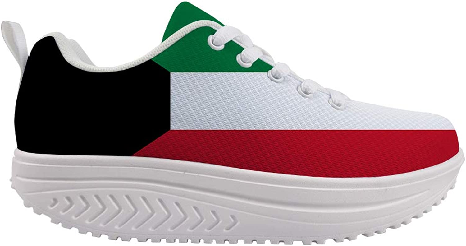 Owaheson Swing Platform Toning Fitness Casual Walking shoes Wedge Sneaker Women Kuwait Flag