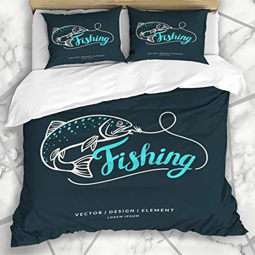 ZORMIEY Bettwäsche - Bettwäscheset Angeln Brown Fish Fishing Schriftzug Wildlife Ink Forelle Haken Zeichnung Salmon Line Design Spinning Mikrofaser weich dreiteilig135*200