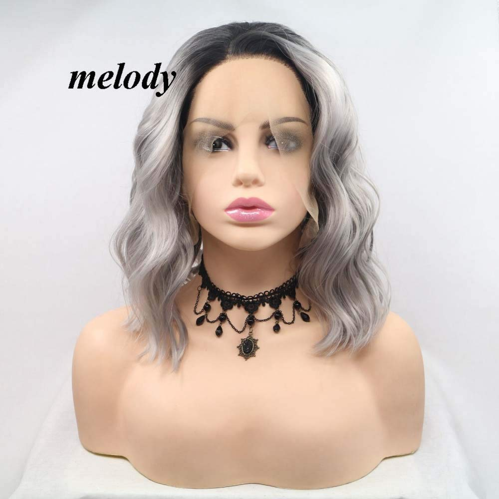 Melody Wig Ombre Grey Short Bob Ranking TOP8 Fron Synthetic New color Lace Wavy