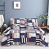 Blue White Plaid Quilt Set King Size Striped Star Patchwork Bedspread Coverlet Flag Bedding Lightweight Reversible All Season Bed Coverlet for Kids Adults,1 Quilt 2 Pillow Shams