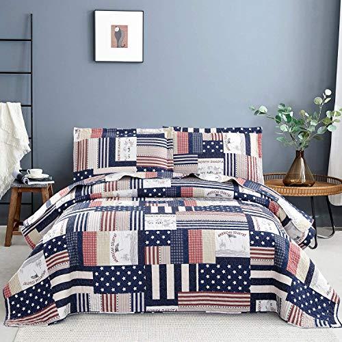 Blau-weißes Plaid-Bettwäsche-Set, King-Size, gestreifte Sterne, Patchwork-Tagesdecke, Tagesdecke, Flagge, Bettwäsche, leicht, wendbar, für Kinder und Erwachsene, 1 Steppdecke, 2 Kissenbezüge