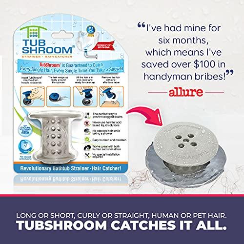 TubShroom Tub Hair Catcher Drain Protector, Fits 1.5