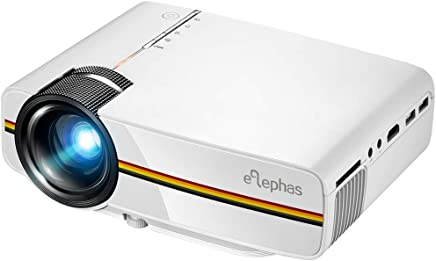 ELEPHAS LED Movie Projector, Support 1080P 150'' Portable Mini Projector Ideal for Home Theater Cinema Video Entertainment Games Party (White) …