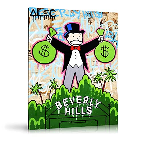 JFGJF Bolsos Beverly Hills Impresión en HD Alec Monopoly Pintura Arte de la Pared sobre Lienzo Monopoly Holding Canvas Prints Home Decor-20X30 Inch Sin Marco