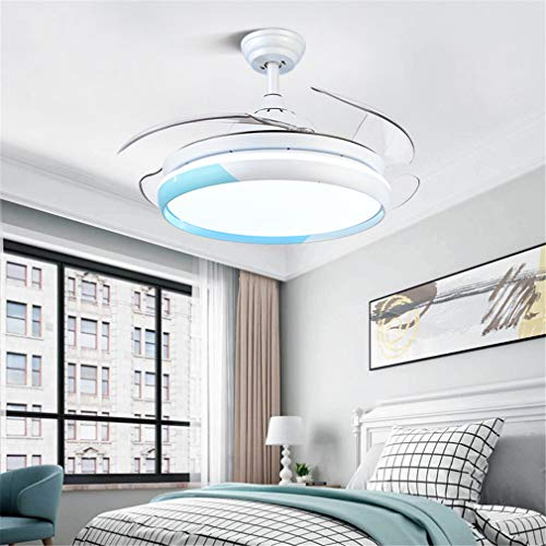 FLYFO Moderno Fan Light, Techo Reversible Inteligente Sala Lámpara De Ventilador Invisible Frecuencia Candelabro Simple Frecuencia Conversión Dormitorio Lámpara De Ventilador Eléctrico,Azul