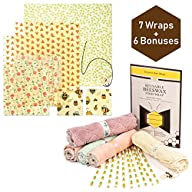 (13 pc. Bundle) Beeswax Food Wraps, Kitchen Cloths, Disposable Paper Straws and Cotton Mesh Produce Bags, Sustainable…