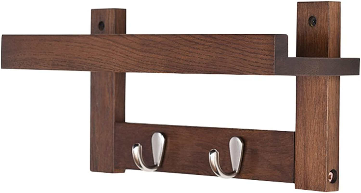 Coat Rack, Hook On The Wall of Creative Japanese Style Solid Wood Hanger, Living Room Rack, Wall-Hung Coat Rack, Wall Bedroom Coat Rack 38.7  18  12cm (color    1, Size   38.7  18  12cm)