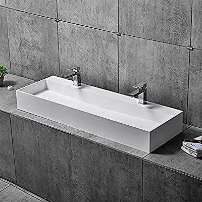 Buy Weibath 47 Inch Wall Mount Double Sink Stone Resin Trough Bathroom Sink With 2 Faucet Holes Glossy White Online In Vietnam B084js1hfh