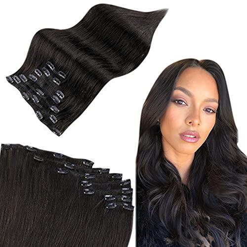 Easyouth Clip in Extensions de Cheveux Couleur Off Black Clip in Extensions Rémy Hair 16pouces 7Pcs 100g