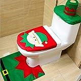PULABO Funda de inodoro para traje de duende de Navidad, funda para tanque de agua, juego de 3 piezas, accesorios de baño, decoraciones navideñas, creativas y útiles, prácticas y rentables