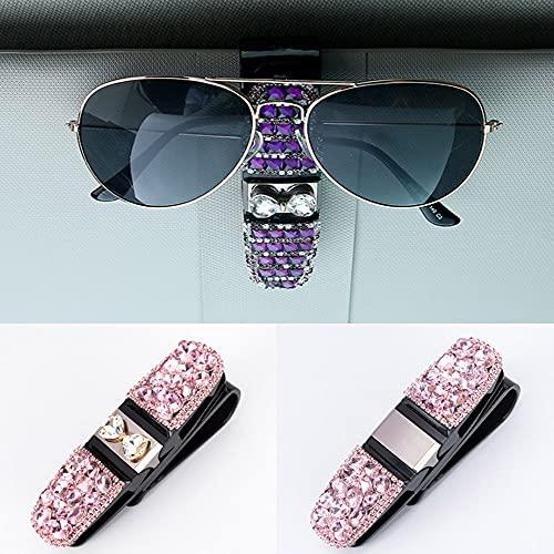 Veshow Paquete de 2 soportes de gafas para visera de coche, gafas de sol con doble extremo para tickets (polvo de gemas A+polvo de gemas B)