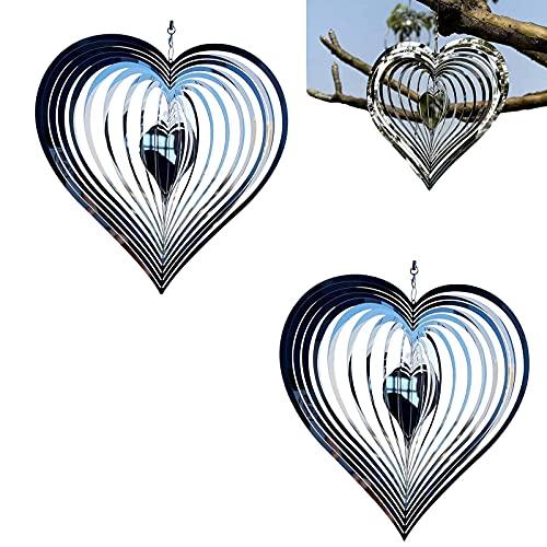 TFCK Hilanderos Viento de corazón latiendo, decoración hilanderos jardín colectores Viento corazón Inoxidable,Accesorios de Campanas de Viento de Arte Colgante 3D 2pcs