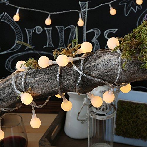 Uping Lichterkette 100 LED Globe Bälle Niederspannungstransformator und 8 Programm für Party, Halloween, Hochzeit, Beleuchtung Deko in Innen und Außenbereich usw Wasserdicht warm weiß