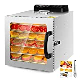 6 Layers Food Dehydrator, All Stainless Steel Dehydrator Raw Food & Jerky Fruit,400W Preserve Food Nutrition Professional Household Vegetable Dryer, with 0~24 Hours Digital Timer (6 Trays)