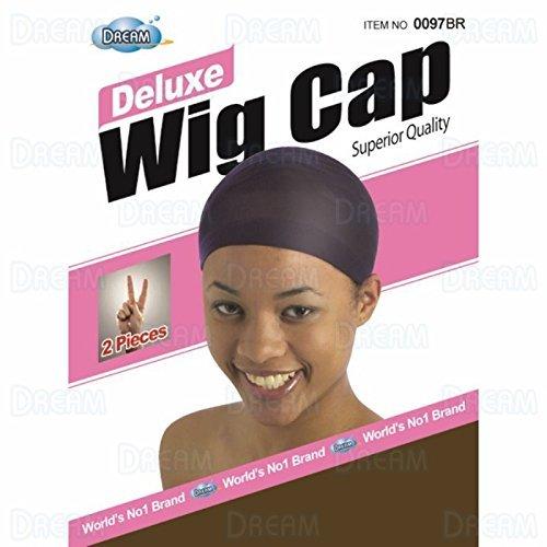 DREAM Deluxe Wig Cap Brown 24 pc (Model: 097 BROWN), Spandex cap, Wig cap, Mesh cap, Snood, Hair net, Fish net by Dream