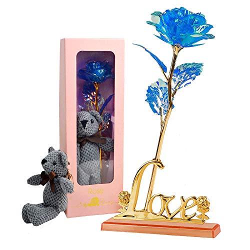 Blaue Rose Geschenk,Rose Konservierte Blumen mit Love kreative Geschenk Plastik Künstlich Deko für Hochzeitstag Freundin Ehefrau Muttertag Vorschlag Valentinstag,Jubiläum,Lehrertag,Geburtstagsgeschenk