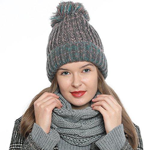 DonDon Mujer Gorro de invierno Gorro de punto forrado caliente y suave con pompón - Gris Rosa Turquesa