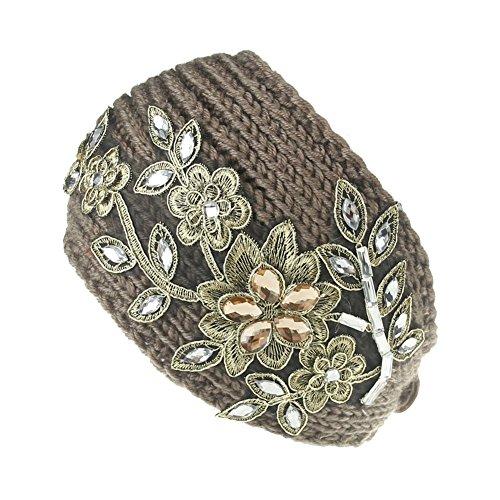 TININNA Mode Serre-tête Bande de Cheveux Laine Tricoté Fleur d'or Turban Elastique Couvre-Oreille Head Wrap Chapeaux pour Femme Fille Kaki
