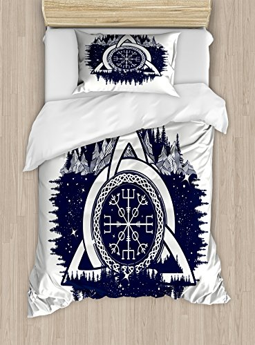 Ambesonne Blue and White Duvet Cover Set, Celtic Knot with Tridents Forest and Mountains Scandinavian Culture, Decorative 2 Piece Bedding Set with 1 Pillow Sham, Twin Size, Dark Blue