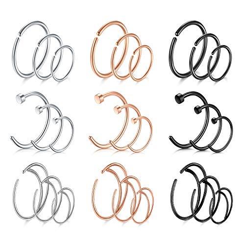 Nose Rings Hoop Nose Ring Surgical Steel 20g Gauge 8mm 10mm 12mm Piercing Hoops Jewelry 27PCS