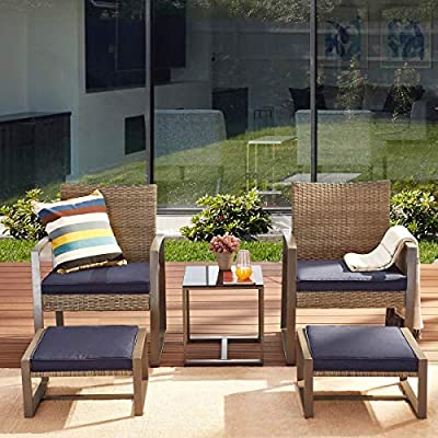 PatioFestival 5 Pieces Wicker Patio Furniture Set Patio Conversation Set Outdoor Patio Chairs Seat Cushions with Ottoman