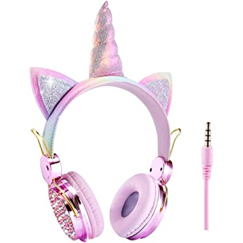 Amazon Com Unicorn Kids Headphones Wired Over Ear Cute Girl Headsets For Children Christmas Parties Birthday Gifts Unicorn Home Audio Theater