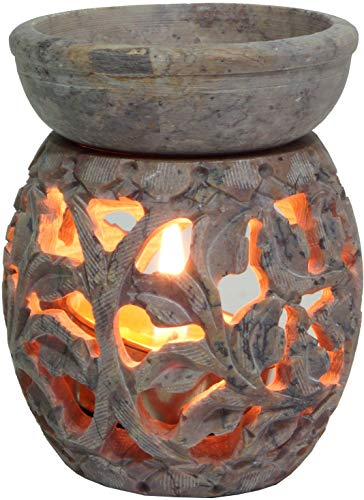 Guru-Shop Lampada Profumo Indiano, Diffusore Olio Essenziale, Porta-luce da tè per Aromaterapia, Lampada Aromatica in Pietra Ollare - Viticcio Fiore Rotondo 1, Beige, 8x6x6 cm