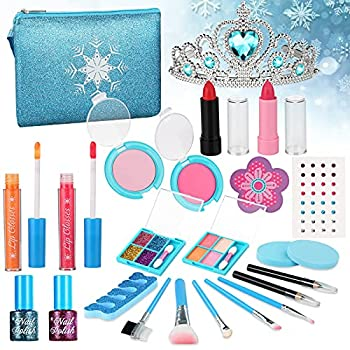PERRYHOME Kids Makeup Kit for Girls 24 Pcs Washable Real Makeup Set Princess Frozen Toys for Little Girls Kids Play Makeup Starter Kit Birthday Gifts for 4 5 6 7 8 Year Old Girl  P4 Kit