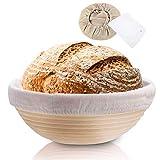 Rishaw Gärkörbchen Rund, ø 25 cm, Höhe 8.5 cm mit Leineneinlage und Teigkarte, Gärkorb Set für Hausgemachtes Brot fasst 1000g Teig - Aus Natürlichem Peddigrohr & Handgemacht (rund x 1)