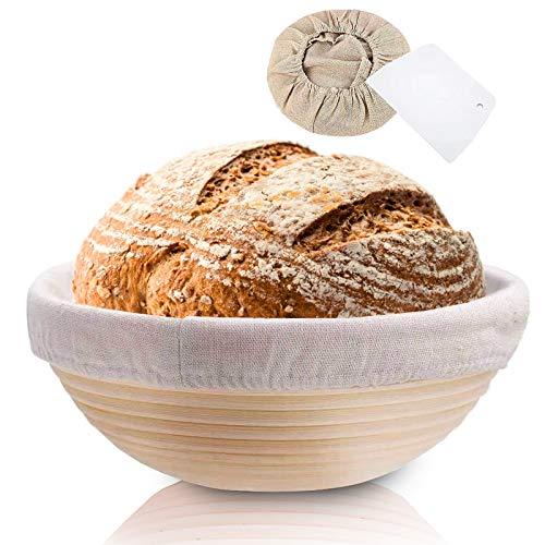 Rishaw Gärkörbchen Rund, ø 25 cm, Höhe 8.5 cm mit Leineneinlage und Brotschneidebrett, Gärkörbchen für hausgemachtes Brot fasst 1000g Teig - Aus Natürlichem Peddigrohr & Handgemacht (rund x 1)