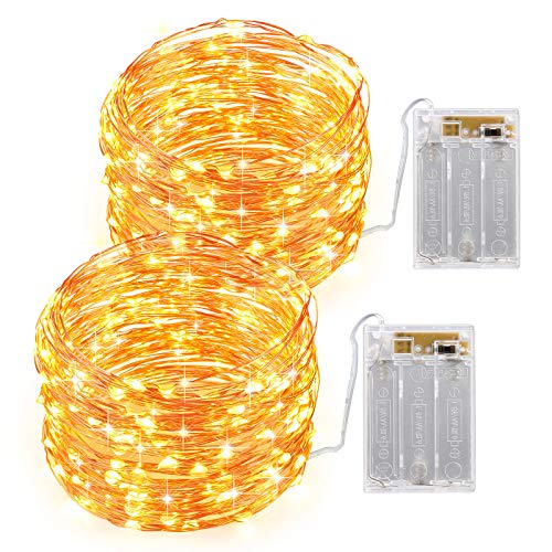 【2 Pack】Criacr Fairy Lights, 10M 100 LED Battery Opearted Fairy Lights, Flexible Silver Wire Firefly Lights, 2 Lighting Modes, DIY Decoration String Lights for Bedroom, Wedding, Party, Tent