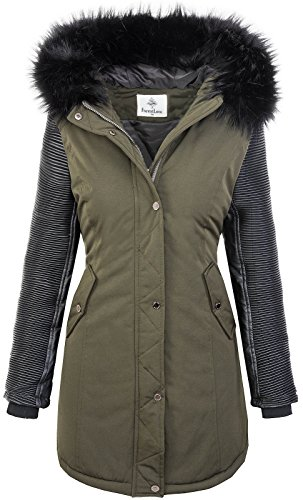 Rock Creek Damen Jacke Winter Parka Bikerjacke Winter Mantel Outdoorjacke Damenmantel Damenparka Kunstleder Ärmel Kunstpelz Kapuze D-347 Grün Schwarz L