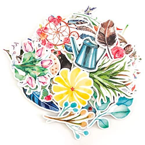 Navy Peony wunderschöne Aquarell Blumenaufkleber | Aufkleber Set für Ihre Laptops Handyhüllen und -schalen und Tagebücher | wasserdicht | 37 Stück