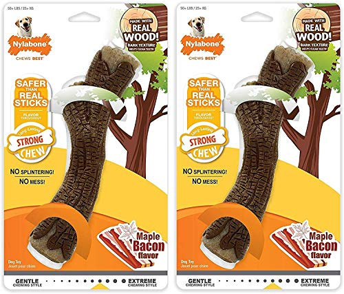 Nylabone 2 Pack of Strong Chewy Maple Bacon Flavored Stick Bone for Dogs Over 50 Pounds