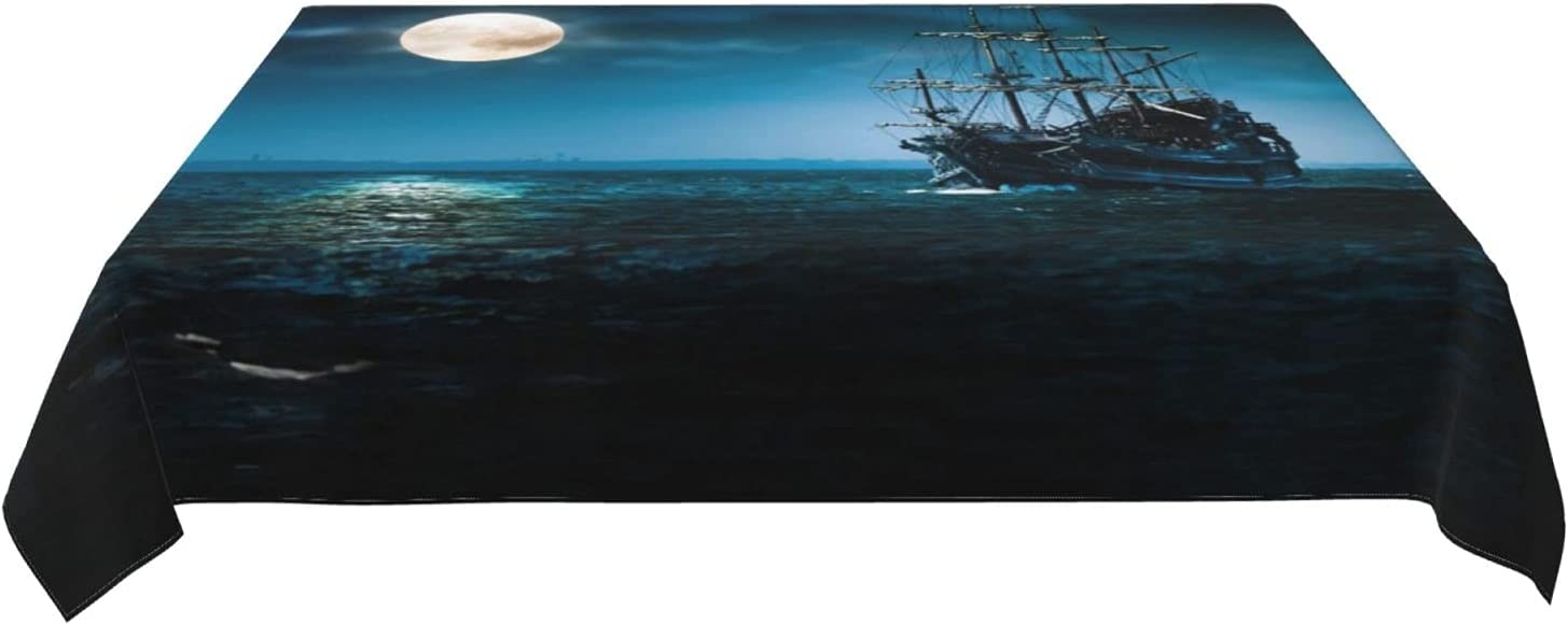 Roechneck All items free shipping Pirate Cheap mail order sales Ship in The Design Night Tablecloths Waterproof