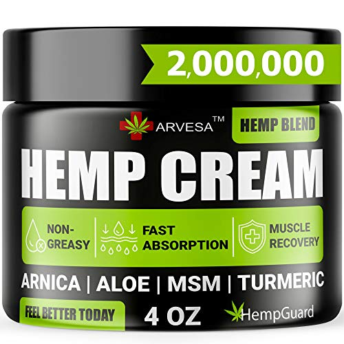 Hemp Pain Relief Cream - Relieves Muscle, Joint Pain - Lower Back Pain - Inflammation - Hemp Oil Extract with Msm - Emu Oil - Arnica - Turmeric - Made in USA - 4oz (120 ml)