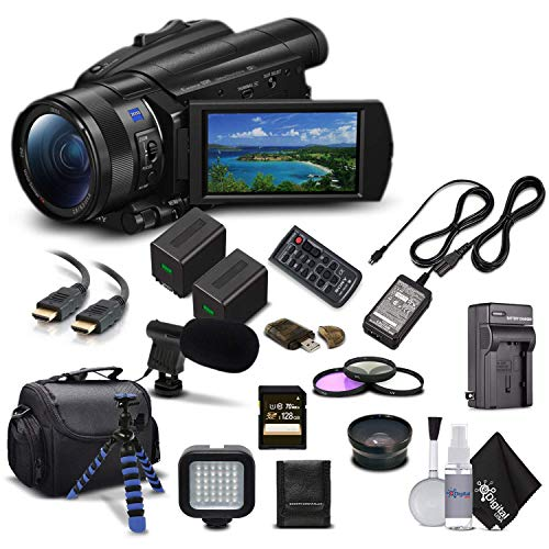 Sony Handycam FDR-AX700 4K HD Video Camera Camcorder + Extra Battery and Charger + 3 Piece Filter Kit + Wide Angle Lens + Case + Tripod and More - Advanced Bundle