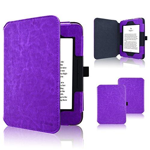 ACdream Nook GlowLight 3 Case, Folio Premium Leather Ereader Cover Case for Barnes & Noble Nook GlowLight 3 (2017 Release), (Dark Purple)