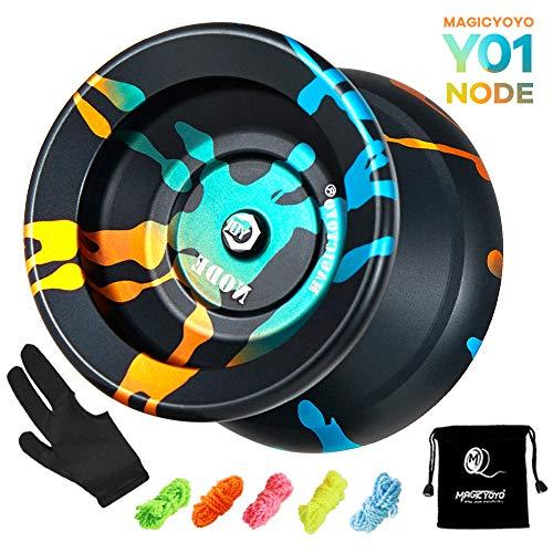 Magic Yoyo Y01 Node Nicht reagierende Yoyos für Anfänger Kinder, Aluminium Metal Yoyo, tolles Geschenk für Kinder, Mädchen und Jungen mit professionellem Handschuh und 5 Schnüren (Black Blue Golden)
