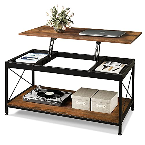 WLIVE Coffee Table,Lift Top Coffee Table with Storage Shelf and 2 Hidden Storage Compartment for Living Room