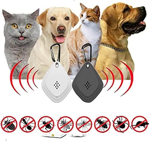 Ahuyentador ultrasónico de pulgas y garrapatas 2021-2 piezas de repelente de plagas electrónico portátil, controlador de pulgas y garrapatas para mascotas