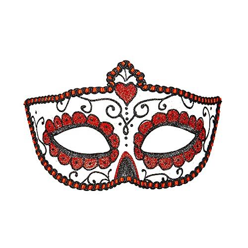 Widmann 03851 - Augenmaske Dia de los Muertos, Rot/Weiß, Accessoire, Maskenball, Karneval