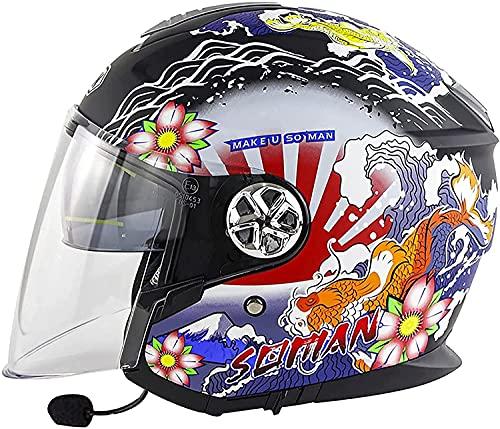 Medio Abierto Casco de Moto con Bluetooth Integrado,ECE Homologado Casco Moto Jet Scooter para Mujer Hombre Adultos,con un Micrófono Incorporado Doble Visera (Color : A, Tamaño : 2XL)